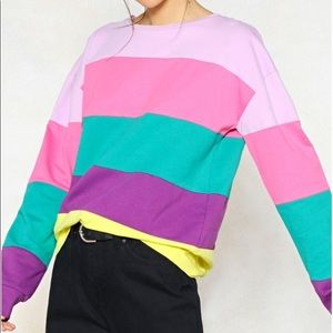 Nasty Gal Sweaters - Colorful Stripe Crew Neck
